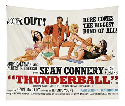 James Bond Thunderball Lobby Poster  1965 Tapestry