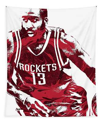James Harden Houston Rockets Pixel Art 3 Tapestry