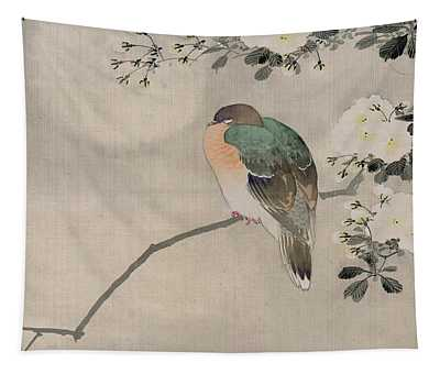 Japanese Silk Painting Of A Wood Pigeon Tapestry
