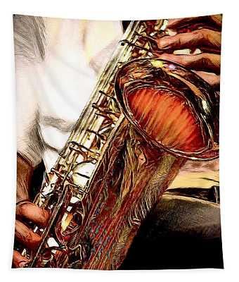 Jazzy Sax Tapestry