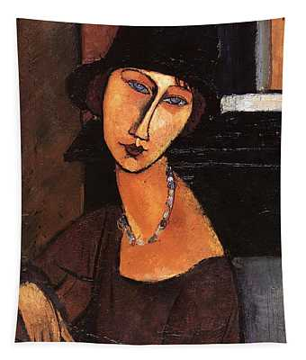 Jeanne Hebuterne With Hat And Necklace Tapestry