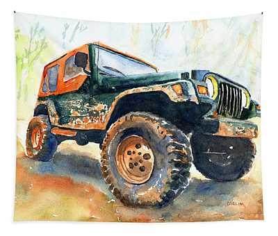 Jeep Wrangler Watercolor Tapestry