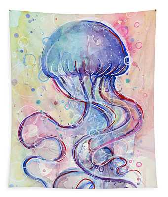 Jelly Fish Watercolor Tapestry