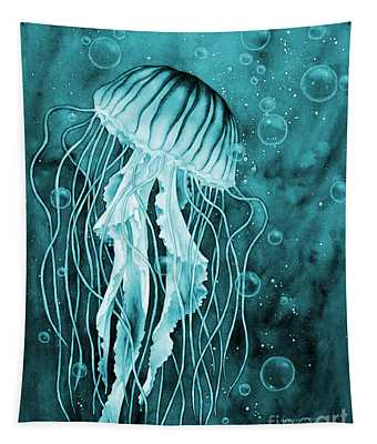 Jellyfish On Blue Tapestry