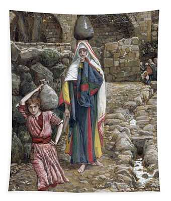 Jesus And His Mother At The Fountain Tapestry