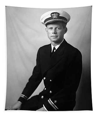 Jfk Wearing His Navy Uniform Painting Tapestry