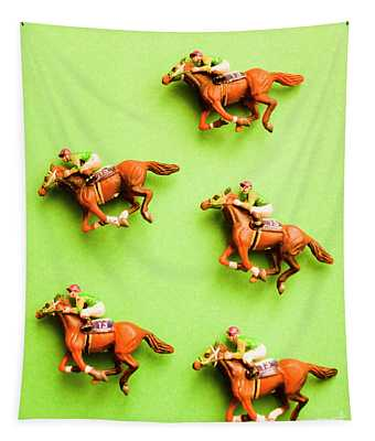 Jockeys And Horses Tapestry