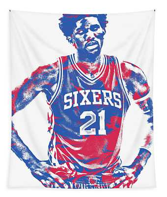 Joel Embiid Philadelphia Sixers Pixel Art 10 Tapestry