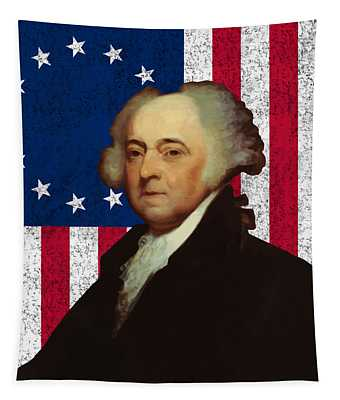 John Adams And The American Flag Tapestry