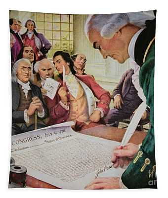 John Hancock Signs The American Declaration Of Independence, 4th July 1776 Tapestry