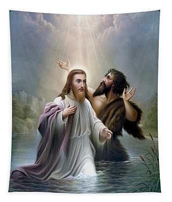 John The Baptist Baptizes Jesus Christ Tapestry