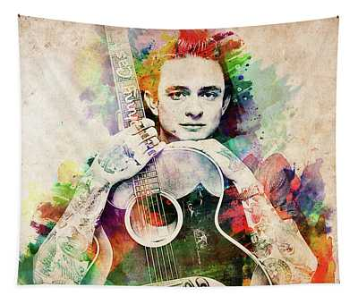 Johnny Cash With Guitar Tapestry