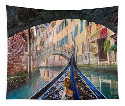 Journey Through Dreams - A Ride On The Canals Of Venice, Italy Tapestry