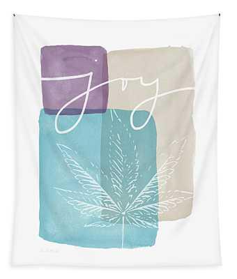 Joy Cannabis Leaf Watercolor- Art By Linda Woods Tapestry