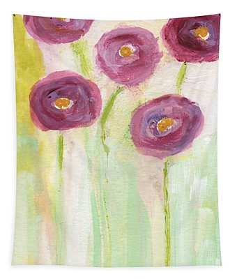 Joyful Poppies- Abstract Floral Art Tapestry
