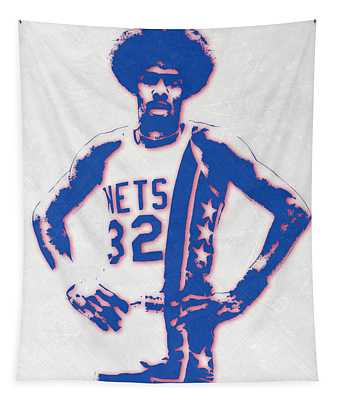 Julius Erving New York Nets Pixel Art Tapestry