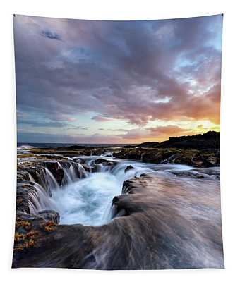 June Blow Hole Sunset Tapestry