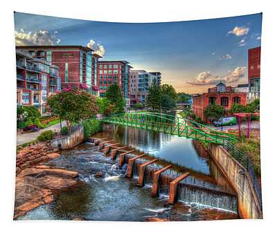 Just Before Sunset 2 Reedy River Falls Park Greenville South Carolina Art Tapestry
