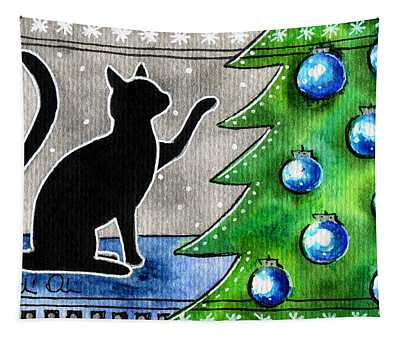 Just Counting Balls - Christmas Cat Tapestry