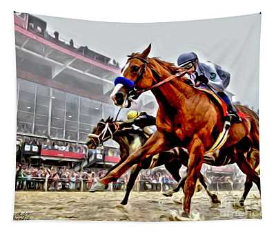Justify Wins Preakness Tapestry