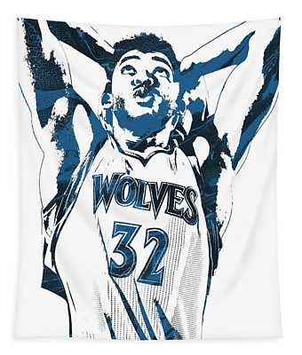 Karl Anthony Towns Minnesota Timberwolves Pixel Art Tapestry