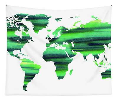 Keep The World Green Watercolor Map Tapestry