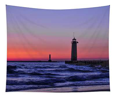 Kenosha Lighthouse Blue Waves Tapestry