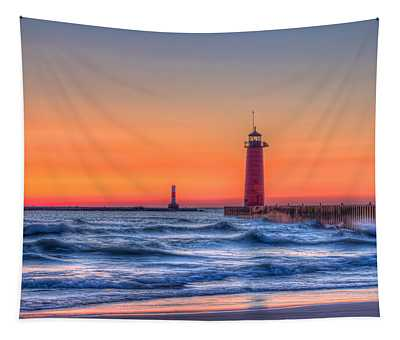 Kenosha Lighthouse Dawn Tapestry