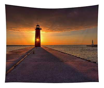 Kenosha Lighthouse Sunrise Tapestry