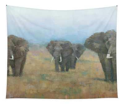 Kenyan Elephants Tapestry