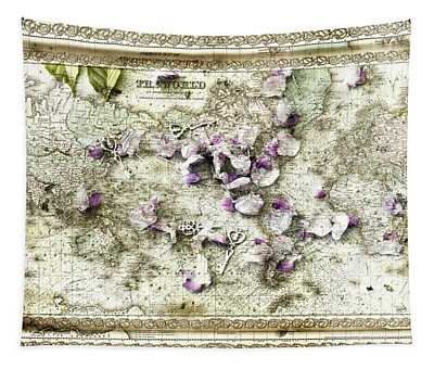 Keys To The World Map Tapestry
