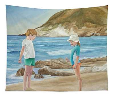 Kids Collecting Marine Shells Tapestry