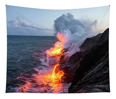 Kilauea Volcano Lava Flow Sea Entry 3- The Big Island Hawaii Tapestry