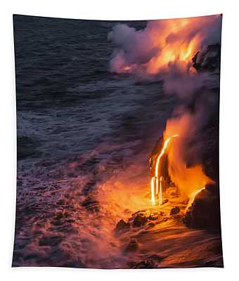 Kilauea Volcano Lava Flow Sea Entry 6 - The Big Island Hawaii Tapestry