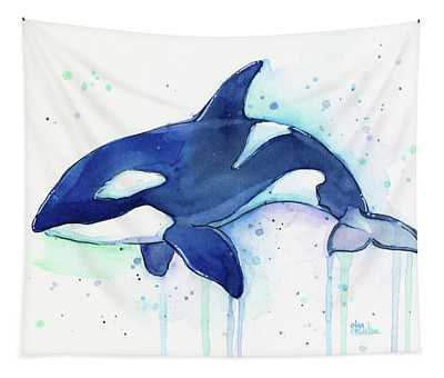 Kiler Whale Watercolor Orca  Tapestry