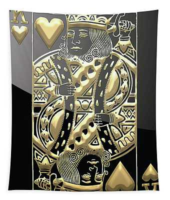 King Of Hearts In Gold On Black Tapestry