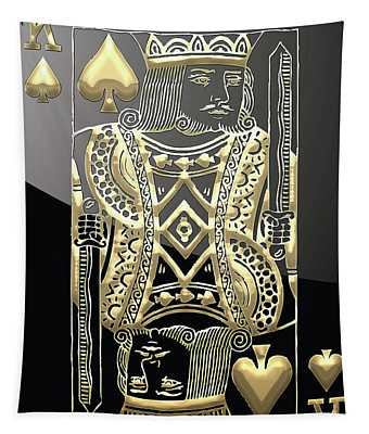 King Of Spades In Gold On Black   Tapestry