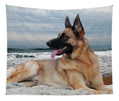 King Of The Beach - German Shepherd Dog Tapestry