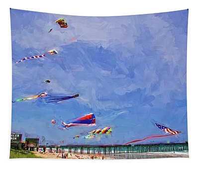Kites At The Flagler Beach Pier Tapestry