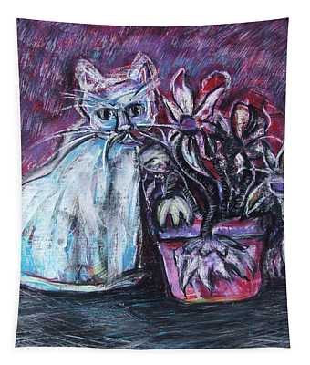 Kitty With Flowers Tapestry