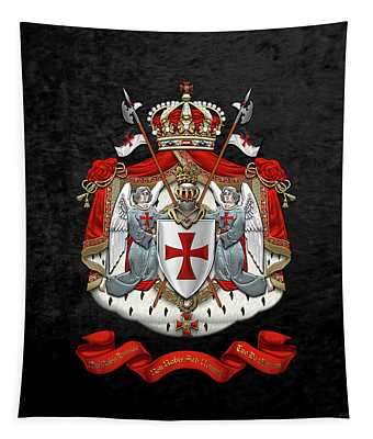 Knights Templar - Coat Of Arms Over Black Velvet Tapestry