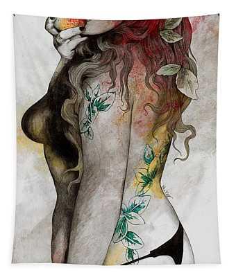 Koi No Yokan - Erotic Drawing, Sexy Tattoo Girl In Thong Biting An Apple Tapestry