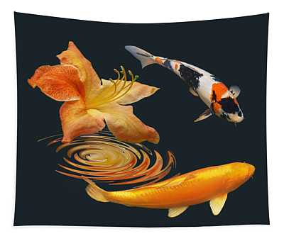 Koi With Azalea Ripples Tapestry