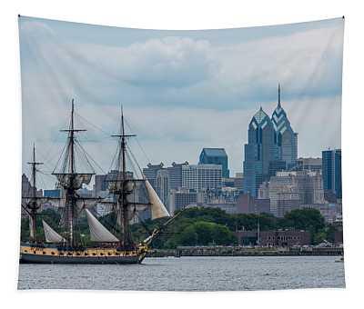 L Hermione Philadelphia Skyline Tapestry