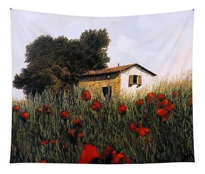 La Casetta In Mezzo Ai Papaveri Tapestry