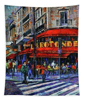 La Rotonde Paris Modern Impressionist Palette Knife Oil Painting Tapestry