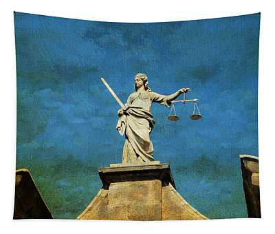 Lady Justice. Streets Of Dublin. Painting Collection Tapestry