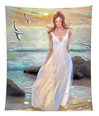 Lady Walking On The Beach Tapestry