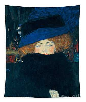 Lady With A Hat And A Feather Boa Tapestry