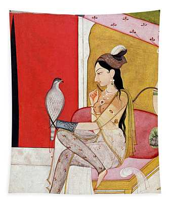Lady With A Hawk Tapestry